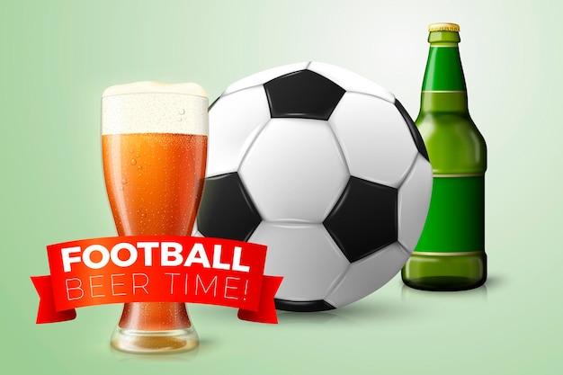 Verre de bière de balle de football réaliste 3d et bouteille isolé