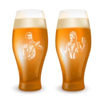 Verre à bière avec un barman gravé.