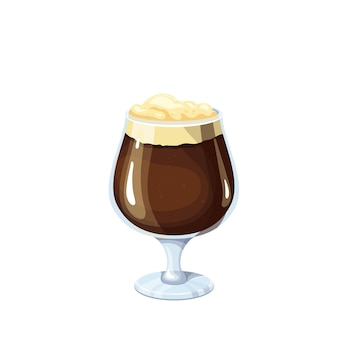 Verre de bière brune. boisson alcoolisée traditionnelle de la fête de la bière oktoberfest. illustration vectorielle.