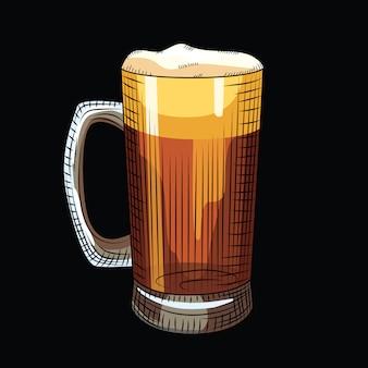 Verre de bière brune isolé sur fond noir. chope à bière pleine dans un style dessiné à la main.