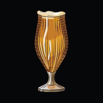 Verre de bière brune isolé sur fond noir. tasse de bière pleine dessinée à la main. bannière de boisson alcoolisée.