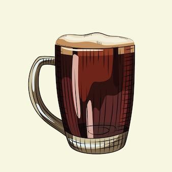 Verre de bière brune de style dessiné à la main. chope à bière pleine avec mousse isolé sur fond clair.
