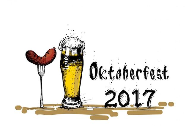 Verre à bière avec croquis de saucisse festival oktoberfest