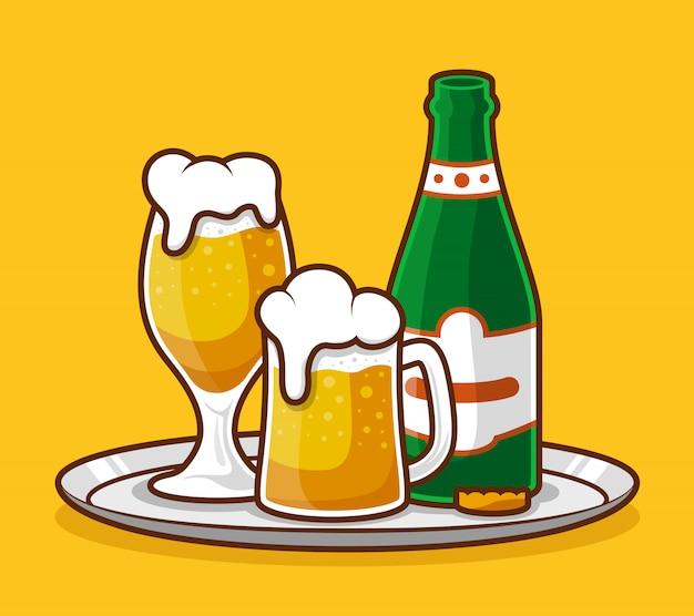 Verre à bière et design plat de bouteille