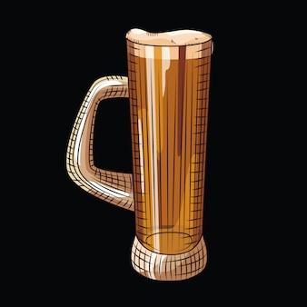 Verre de bière isolé. chope à bière pleine dans un style dessiné à la main sur fond noir.