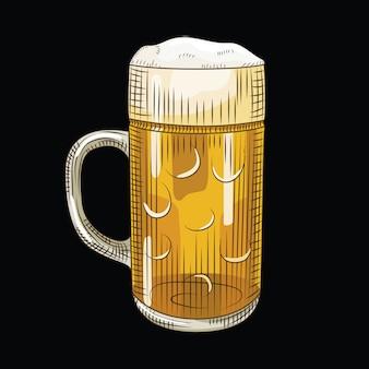 Verre de bière légère isolée. chope à bière pleine dans un style dessiné à la main sur fond noir.
