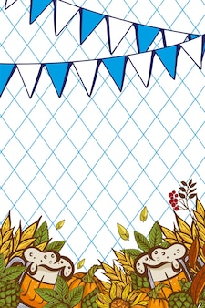 Verre à bière parmi les feuilles de houblon et le cône sur une bannière de l'oktoberfest décorée de symboles traditionnels d'une fête de la bière en europe.