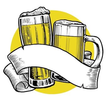 Verre à bière pinte toast illustration plate