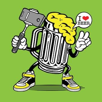 Verre à bière selfie character design