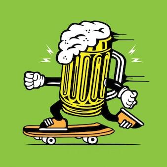 Verre à bière skater skateboard character