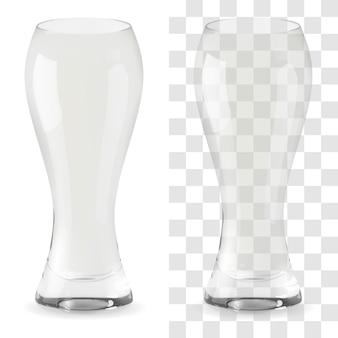 Verre à bière transparent réaliste de vecteur. verre à boire de l'alcool icône illustration
