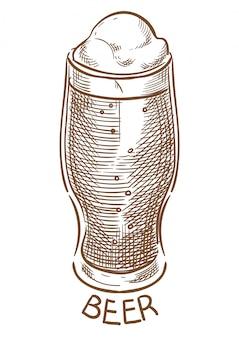 Verre à bière vecteur croquis dessin à la main
