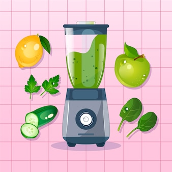 Verre blender smoothies avec fruits autour