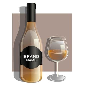 Un verre et une bouteille de vin blanc