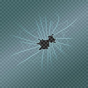 Verre brisé avec fragments réalistes, fissures et trou. fenêtre endommagée. illustration vectorielle.