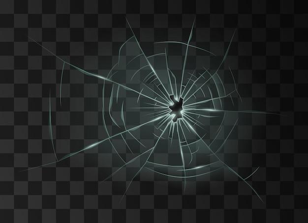 Verre brisé. trou de destruction de texture de fenêtre fissurée en verre endommagé transparent sur fond quadrillé sombre. illustration vectorielle réaliste 3d