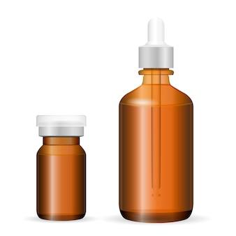 Verre brun, ensemble de bouteilles en plastique cosmétique, médecine