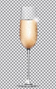 Verre de champagne sur fond transparent. illustration vectorielle