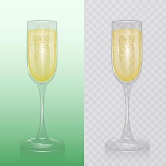 Le verre à champagne, verrerie pour boissons alcoolisées, flûte à champagne, illustration réaliste