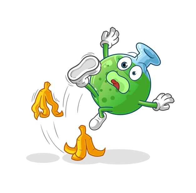 Le verre chimique a glissé sur la banane. mascotte de dessin animé