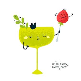 Verre avec cocktail et fraise