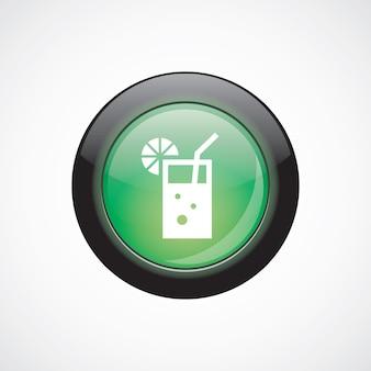 Verre à cocktail signe icône bouton brillant vert. bouton du site web de l'interface utilisateur
