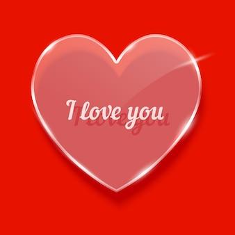 Verre coeur symbole illustration vectorielle réaliste avec texte