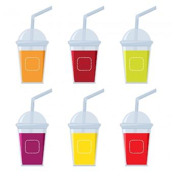 Verre avec différents jus de fruits, illustration