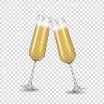 Verre doré à champagne réaliste