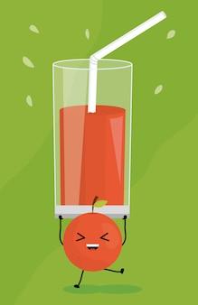 Verre avec du jus de fruits frais orange kawaii