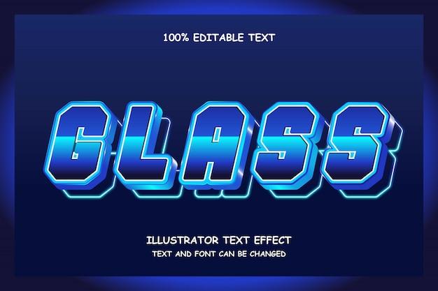Verre, effet de texte modifiable 3d dégradé bleu foncé style ombre moderne