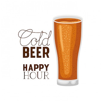 Verre d'étiquette bière froide happy hour