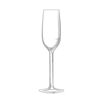 Verre à flûte. croquis de verre de champagne vide dessiné à la main. verre à vin mousseux. style de gravure. illustration vectorielle isolée sur fond blanc.