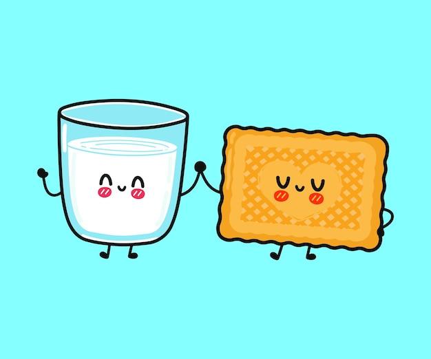 Verre heureux drôle mignon de caractère de lait et de biscuits
