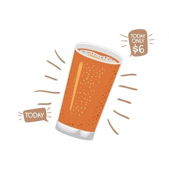 Verre avec icône isolé bière