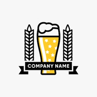 Verre, illustration vectorielle, bière, inspiration, conception, logo bière