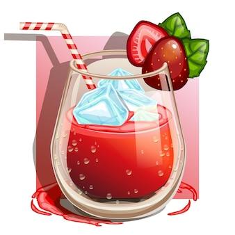Verre d'isolat de jus de fraise 100%