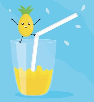 Verre avec jus d'ananas fruit frais personnage kawaii