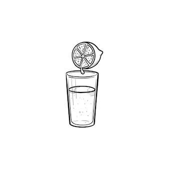 Verre de jus de citron frais icône de doodle contour dessiné à la main. jus d'agrumes, boisson biologique fraîche, concept de santé
