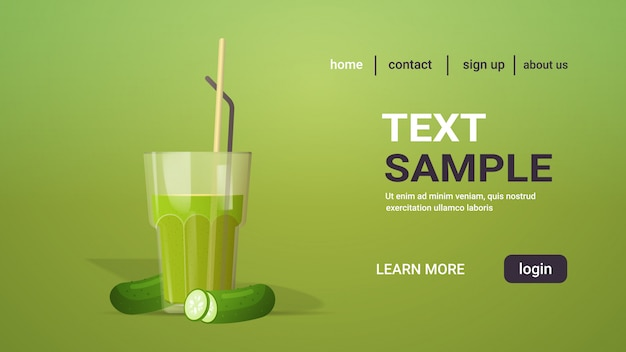 Verre de jus de concombre frais avec de la paille et des légumes en tranches copie espace horizontal