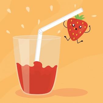 Verre avec jus fraise fruits frais personnage kawaii