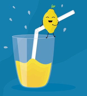 Verre avec jus mangue fruits frais personnage kawaii
