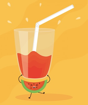 Verre avec jus melon d'eau fruit frais personnage kawaii