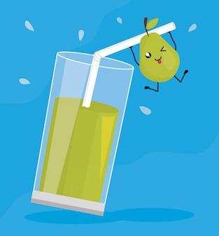 Verre avec jus poire fruit frais personnage kawaii