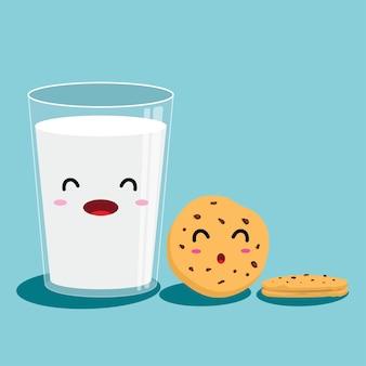 Verre de lait et biscuits aux brisures de chocolat