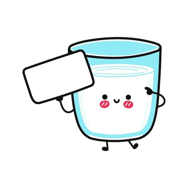 Verre de lait drôle mignon avec affiche