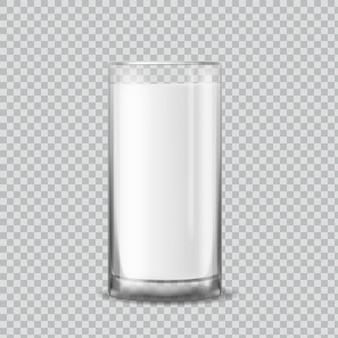 Verre à lait. tasse réaliste avec du yogourt liquide blanc ou du kéfir, illustration vectorielle de produit laitier du matin nutrition nutrition isolée sur fond transparent