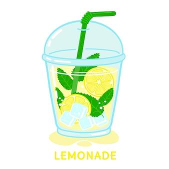 Verre de limonade à la menthe et à la paille vector illustration isolé sur fond blanc