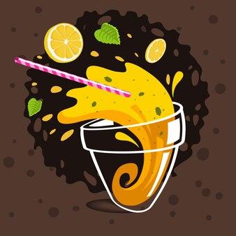 Verre de limonade renversée faisant des éclaboussures de citrons en vol,