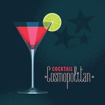 Verre à martini avec cocktail cosmopolitan.